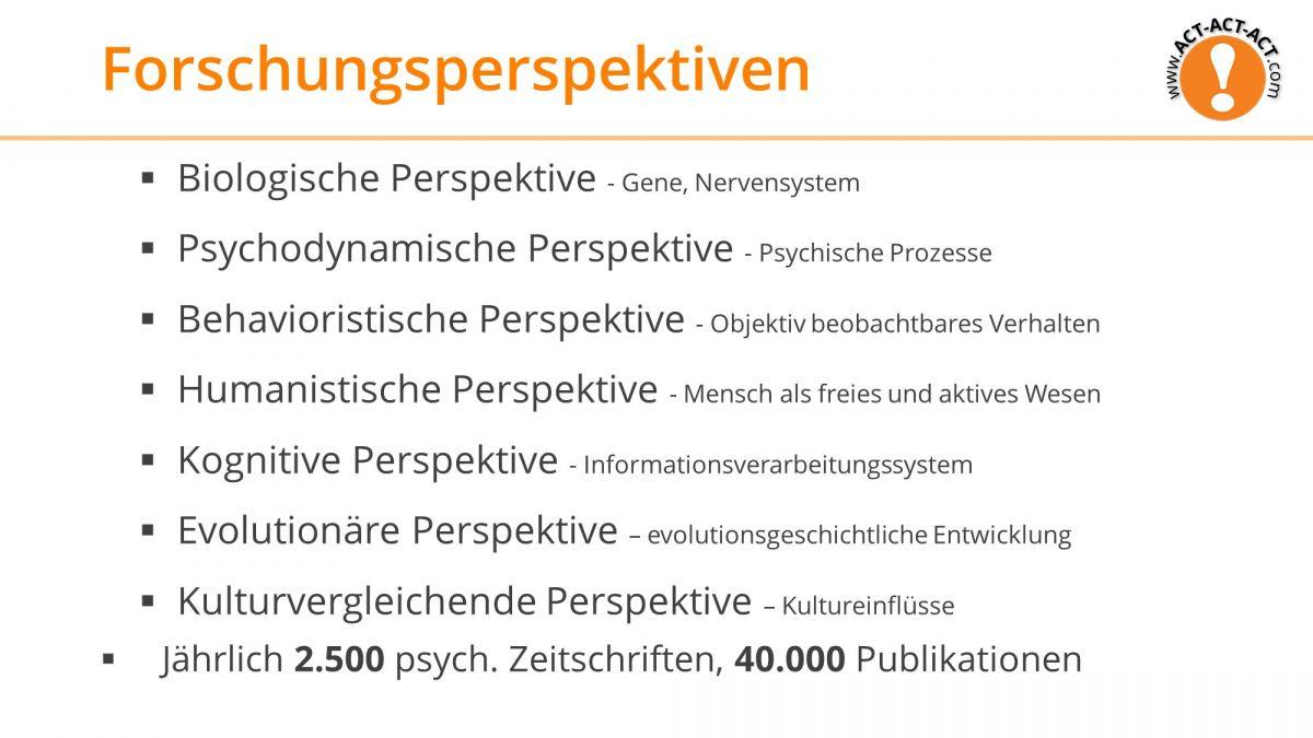 Psychologie Aufnahmetest Vorbereitung: Forschungsperspektiven