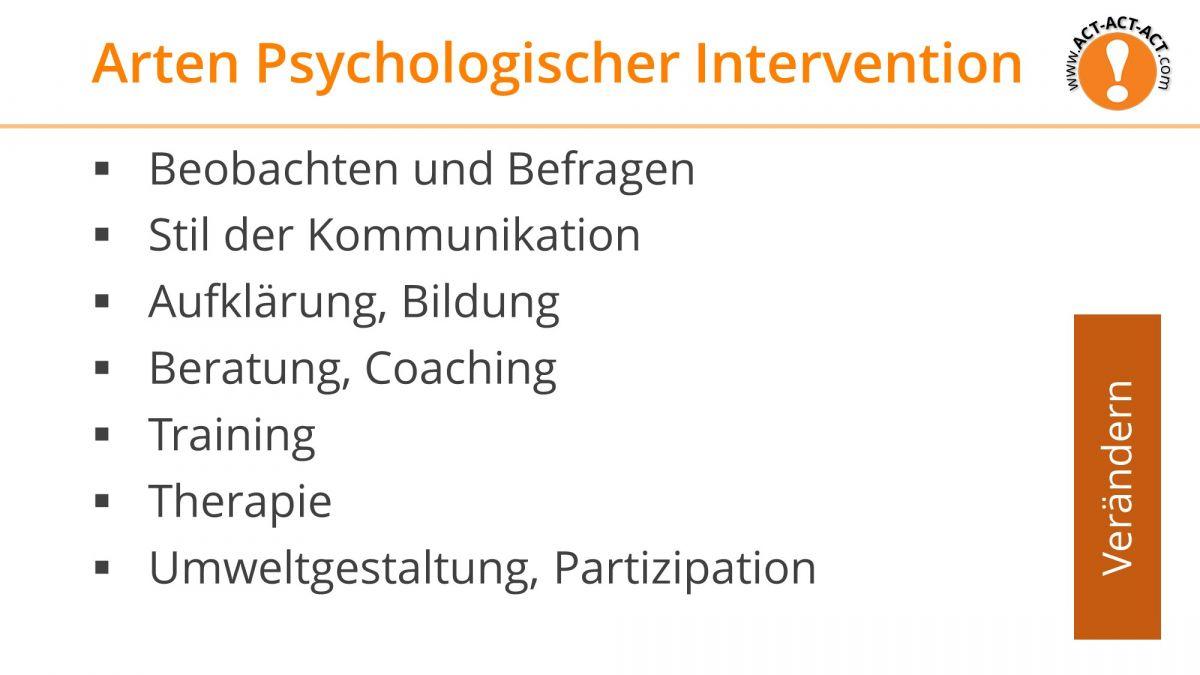 Psychologie Aufnahmetest Vorbereitung: Arten psychologischer Interventionen