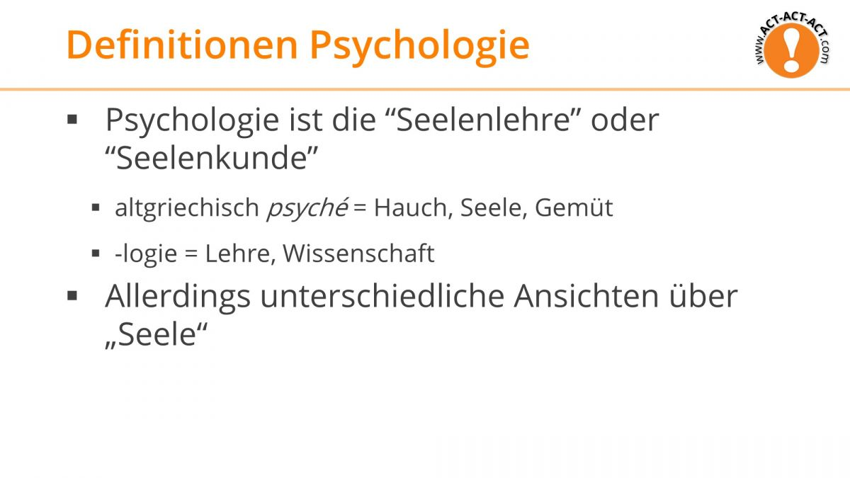 Psychologie Aufnahmetest Kapitel 2: Definition Psychologie