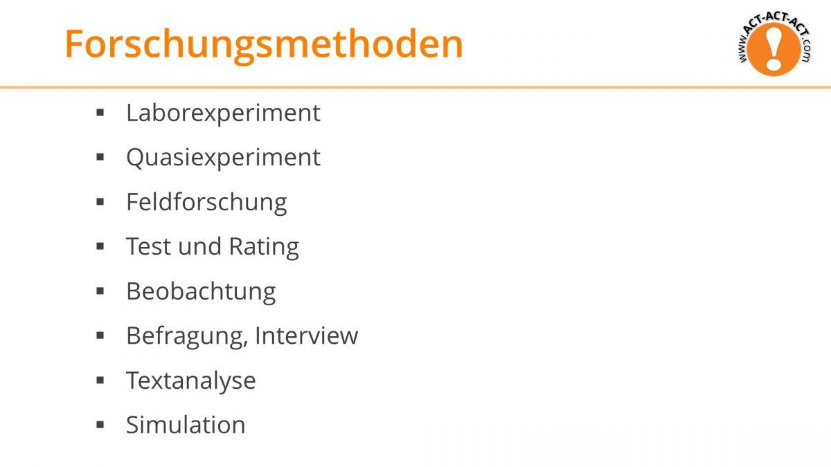 Psychologie Aufnahmetest Kapitel 3: Forschungsmethoden