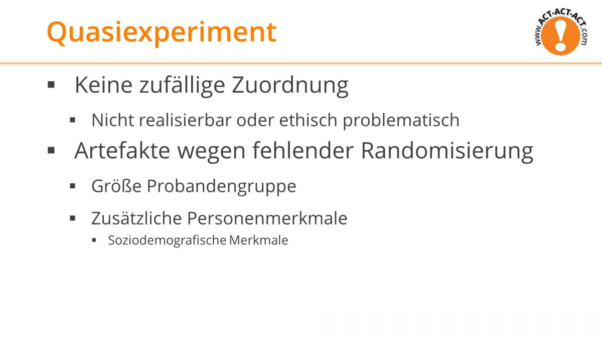 Psychologie Aufnahmetest Kapitel 3: Quasiexperiment