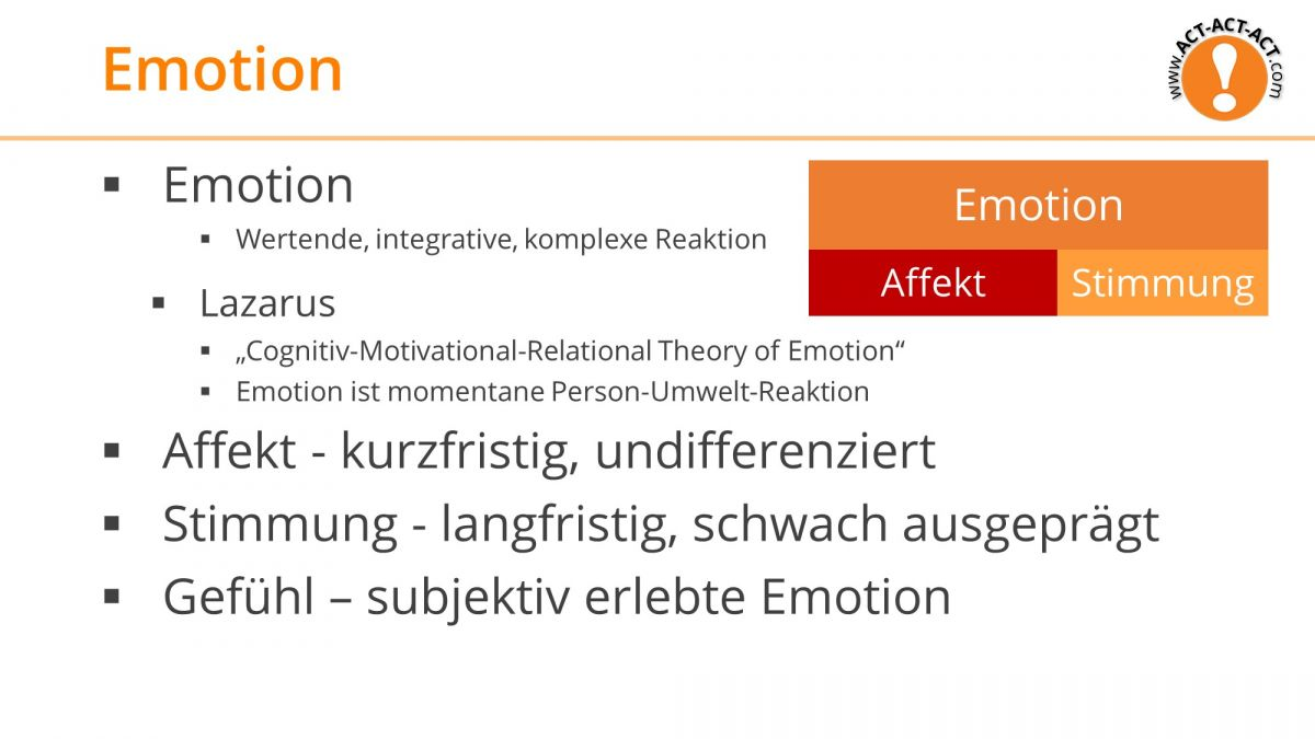 Psychologie Aufnahmetest Kapitel 9: Emotion Überblick
