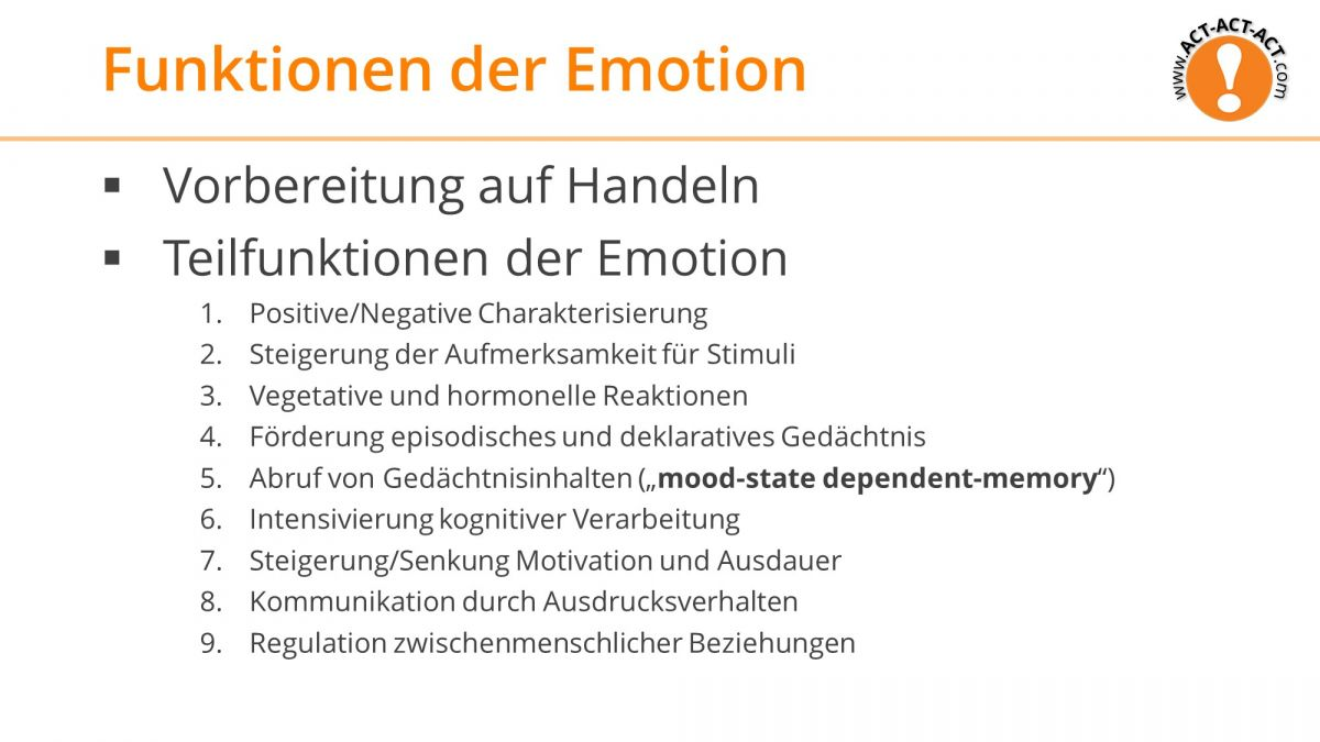 Psychologie Aufnahmetest Kapitel 9: Funktion der Emotion