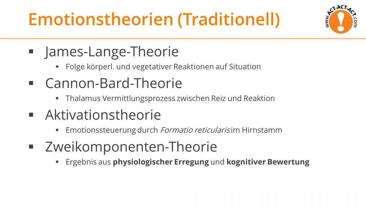 Psychologie Aufnahmetest Kapitel 9: Traditionelle Emotionstheorien