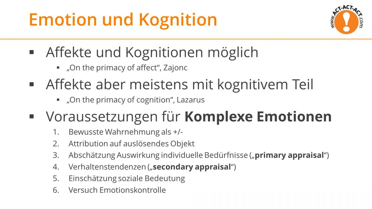 Psychologie Aufnahmetest Kapitel 9: Emotion und Kognition