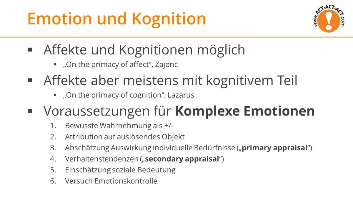 Psychologie Aufnahmetest Kapitel 9: Emotion und Kognition