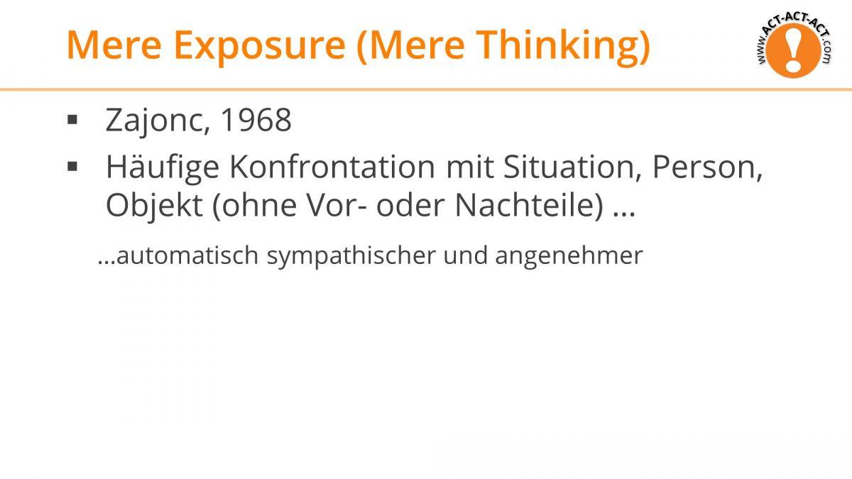 Psychologie Aufnahmetest Kapitel 9: Mere Exposure Effekt