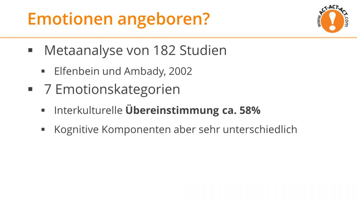 Psychologie Aufnahmetest Kapitel 9: Angeborene Emotion