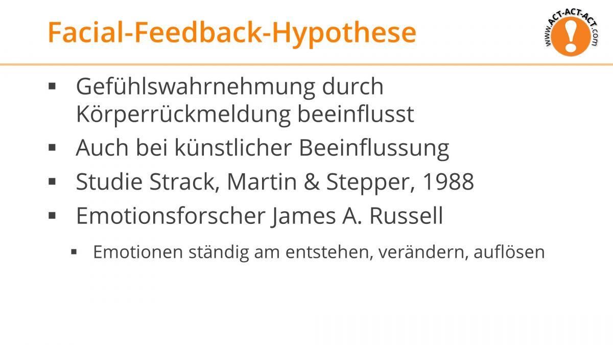 Psychologie Aufnahmetest Kapitel 9: Facial-Feedback-Hypothese