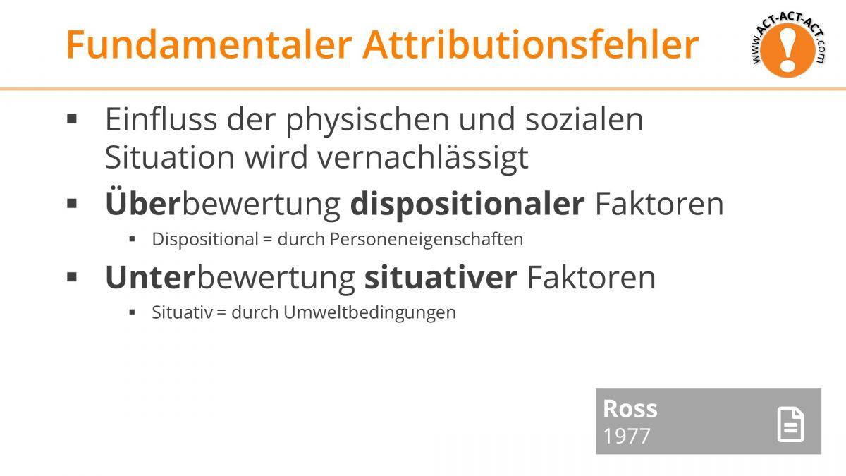 Psychologie Aufnahmetest Kapitel 10: Fundamentaler Attributionsfehler