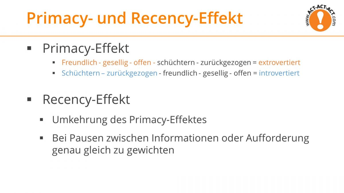 Psychologie Aufnahmetest Kapitel 10: Primacy und Recency Effekt