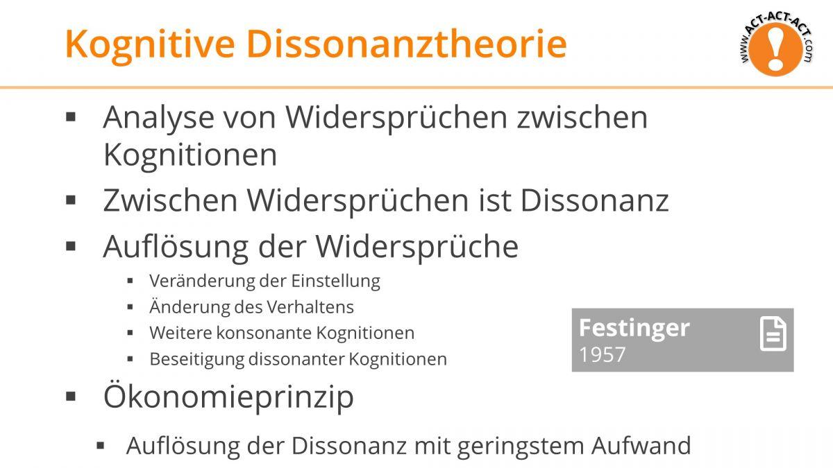 Psychologie Aufnahmetest Kapitel 10: Kognitive Dissonanztheorie
