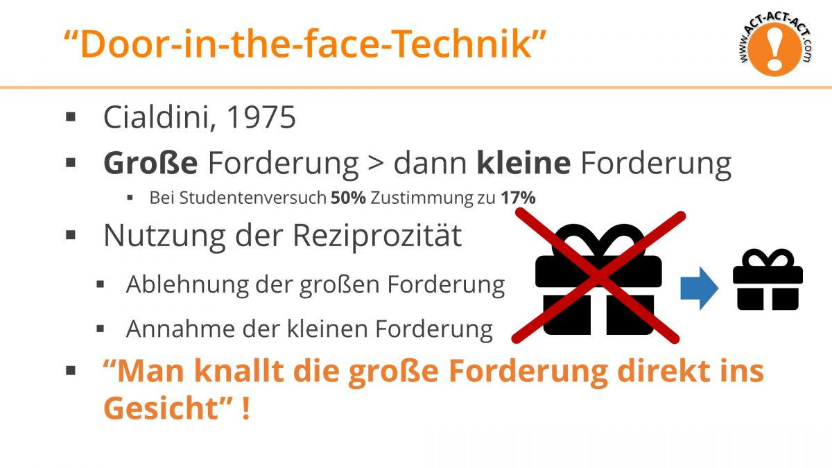 Psychologie Aufnahmetest Kapitel 10: Door-in-the-face-Technik