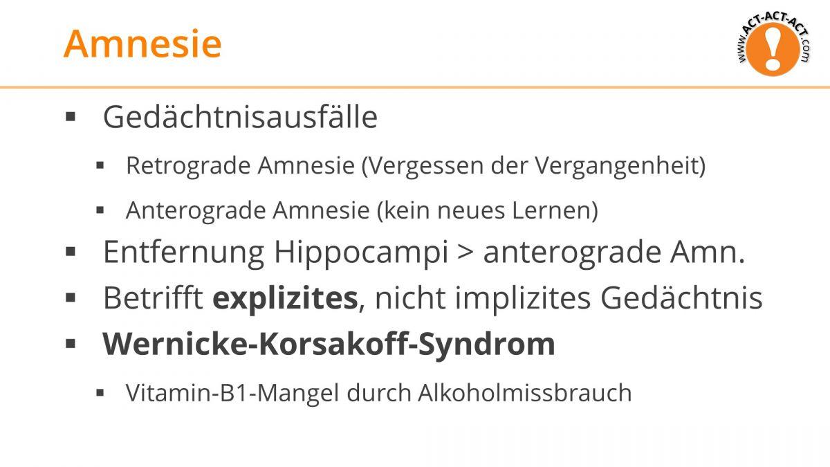 Psychologie Aufnahmetest Kapitel 7: Amnesie