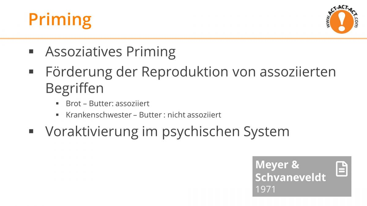 Psychologie Aufnahmetest Kapitel 7: Priming