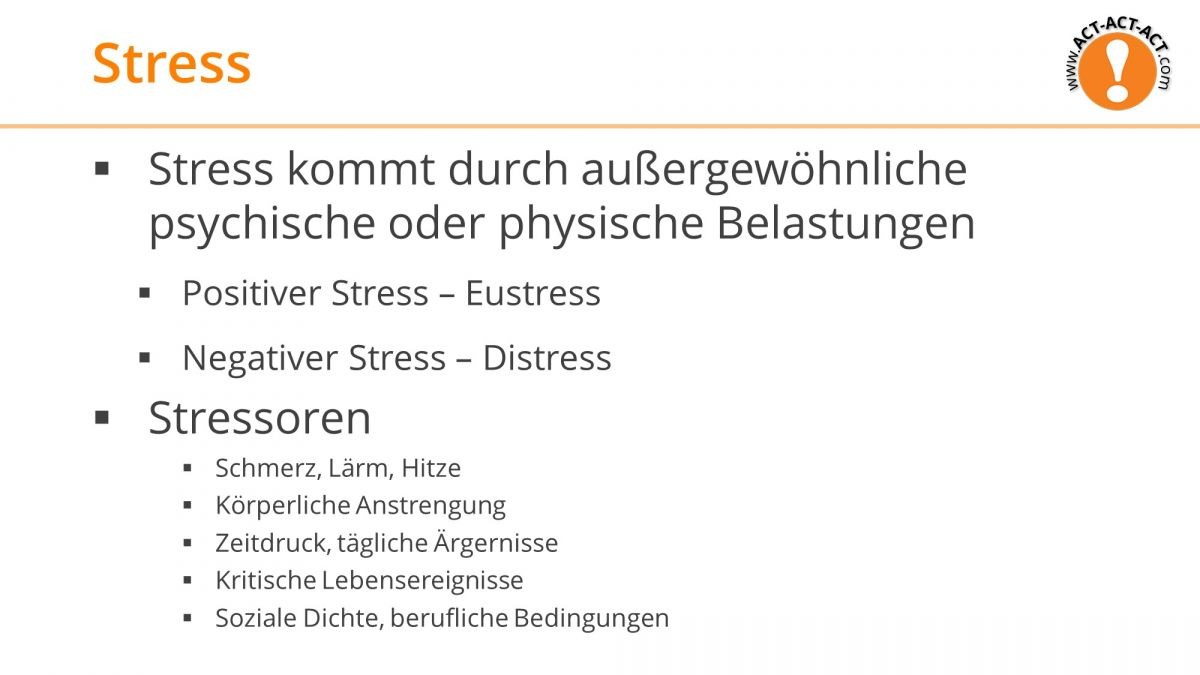 Psychologie Aufnahmetest Kapitel 12: Stress