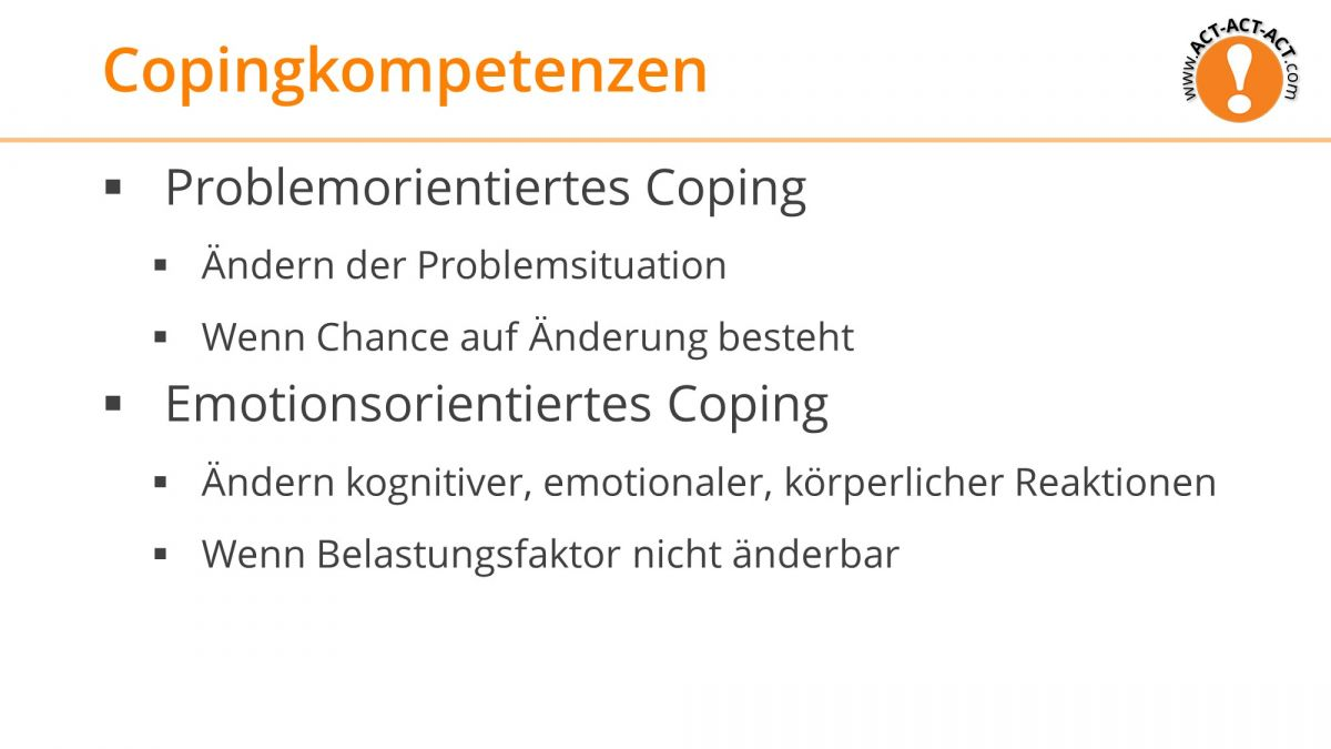 Psychologie Aufnahmetest Kapitel 12: Copingkompetenzen