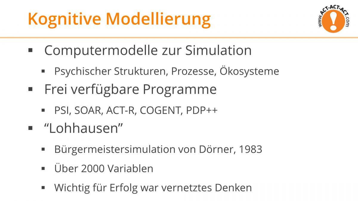 Psychologie Aufnahmetest Kapitel 8: Kognitive Modellierung
