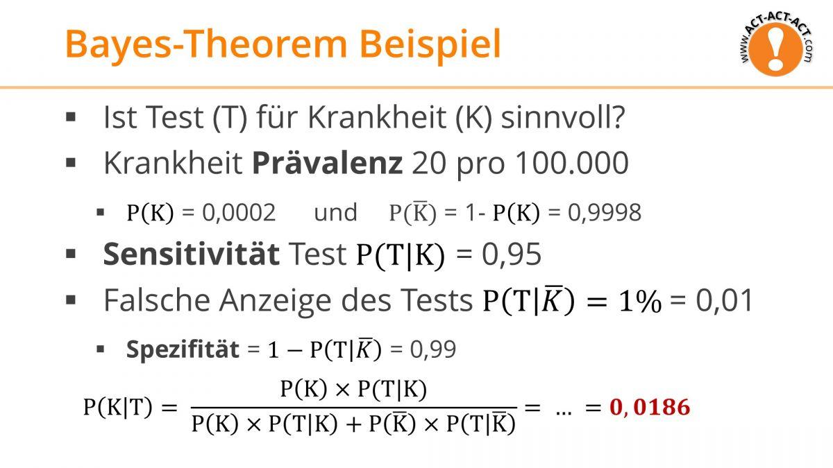 Psychologie Aufnahmetest Kapitel 8: Bayes-Theorem Beispiel