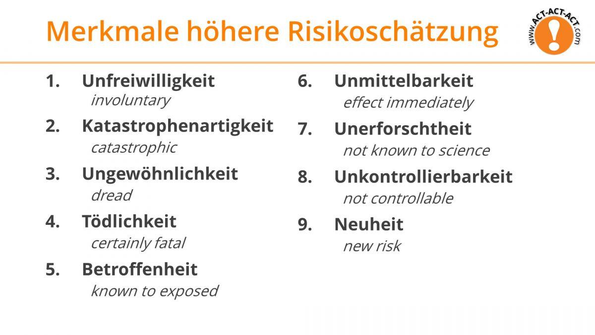 Psychologie Aufnahmetest Kapitel 8: Merkmale höherer Risikowahrnehmung