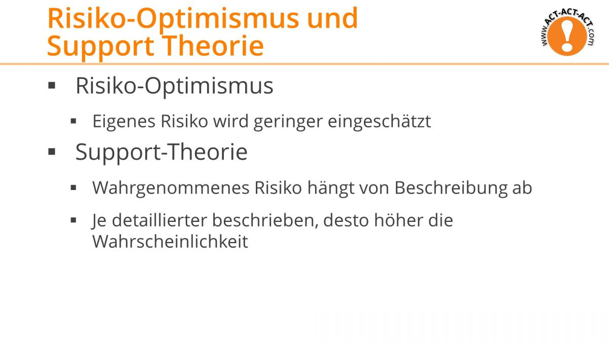 Psychologie Aufnahmetest Kapitel 8: Risiko Optimismus