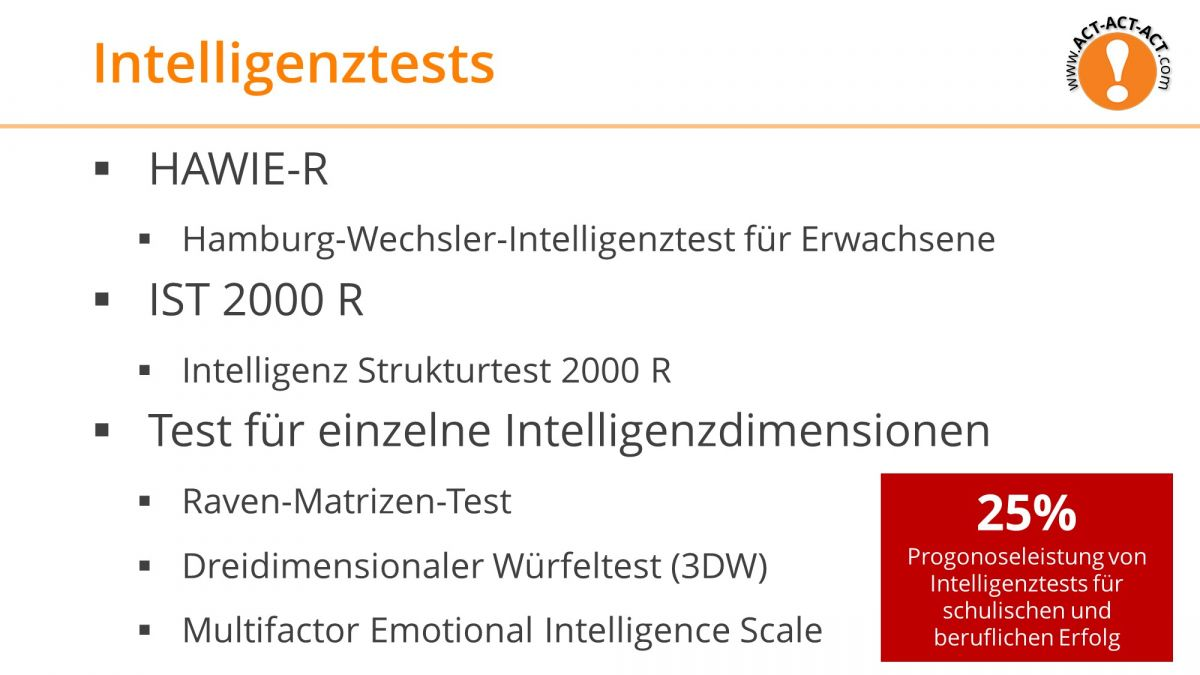Psychologie Aufnahmetest Kapitel 8: Intelligenztests