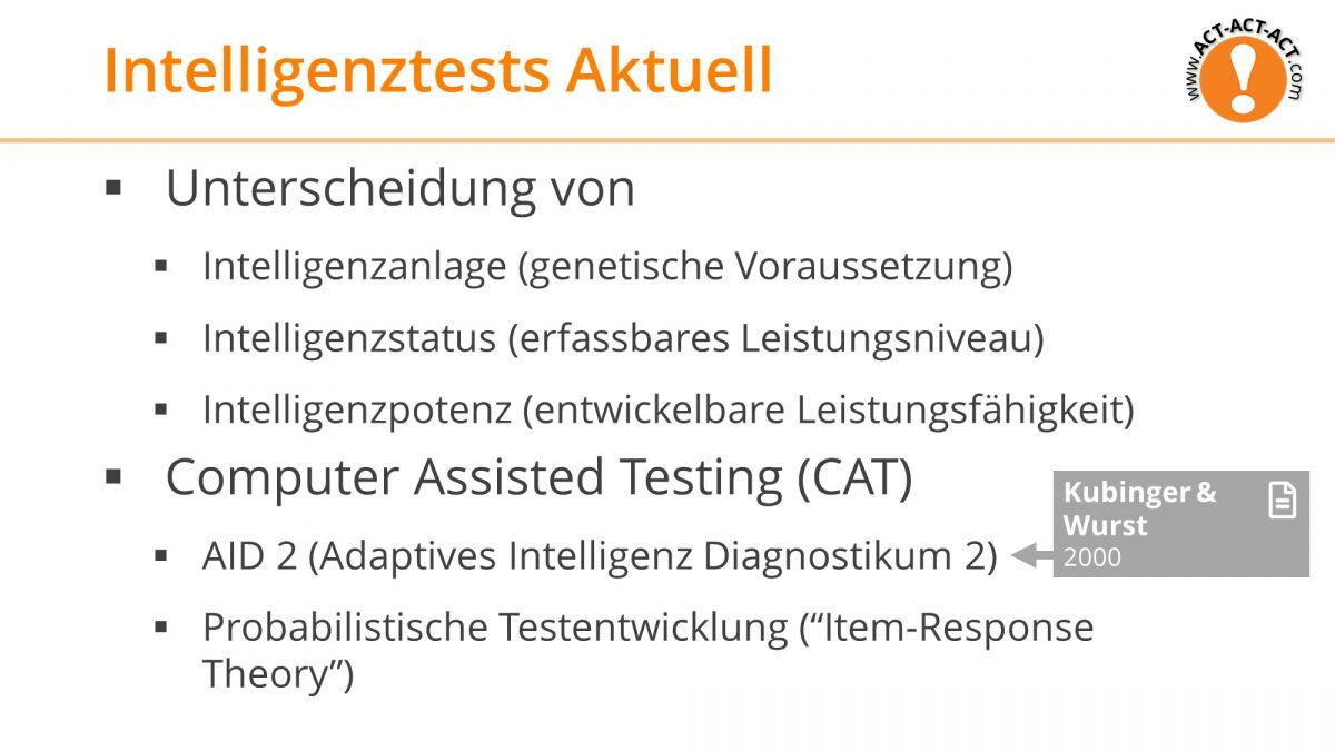 Psychologie Aufnahmetest Kapitel 8: Intelligenztests Aktuell