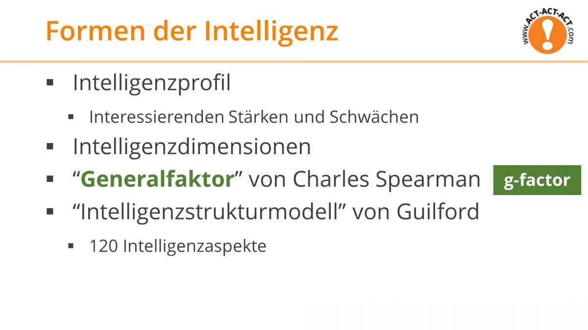 Psychologie Aufnahmetest Kapitel 8: Formen der Intelligenz