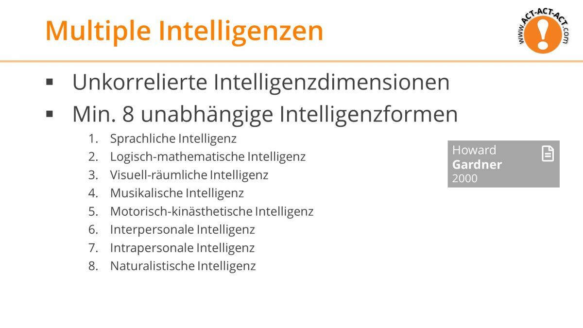 Psychologie Aufnahmetest Kapitel 8: Multiple Intelligenzen