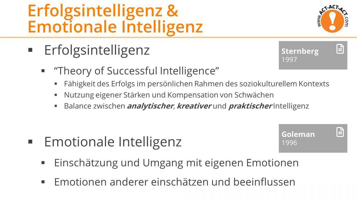 Psychologie Aufnahmetest Kapitel 8: Erfolgsintelligenz und Emotionale Intelligenz