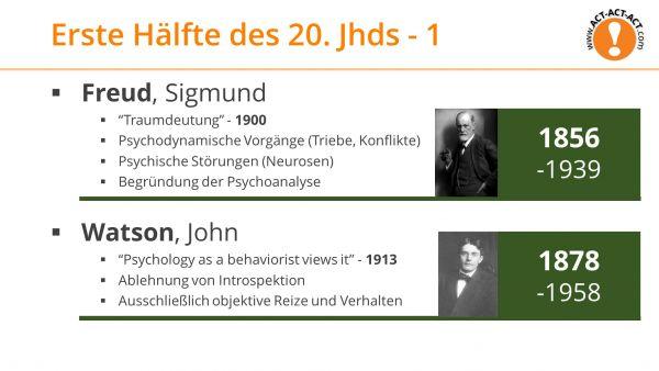 Psychologie Aufnahmetest Kapitel 1: Freud, Watson