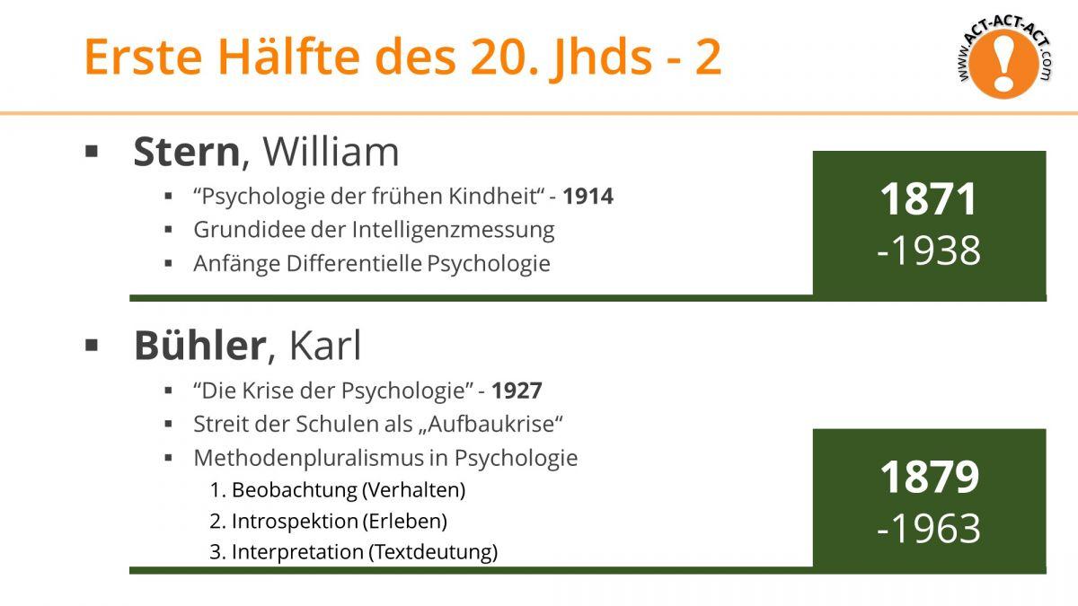 Psychologie Aufnahmetest Kapitel 1: Stern, Bühler