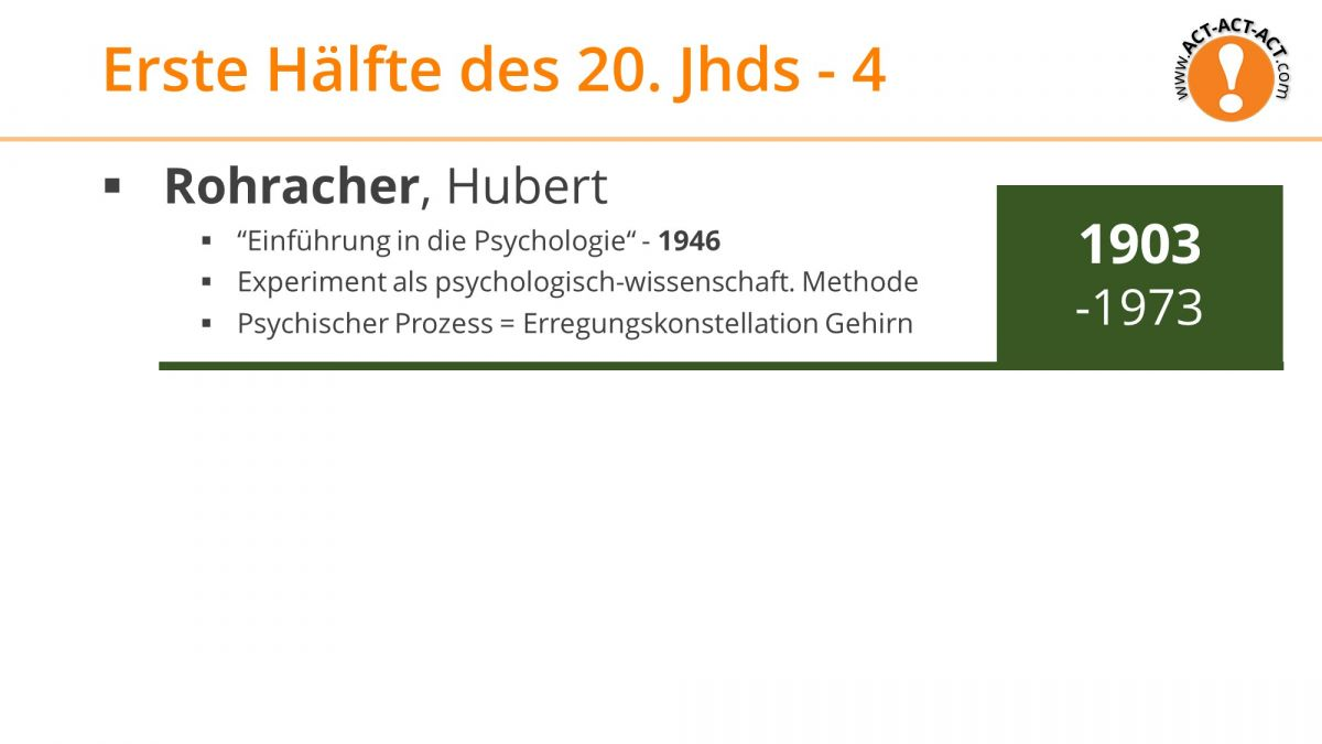Psychologie Aufnahmetest Kapitel 1: Rohracher
