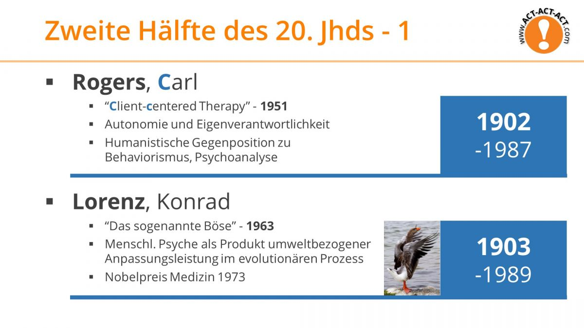 Psychologie Aufnahmetest Kapitel 1: Rogers, Lorenz