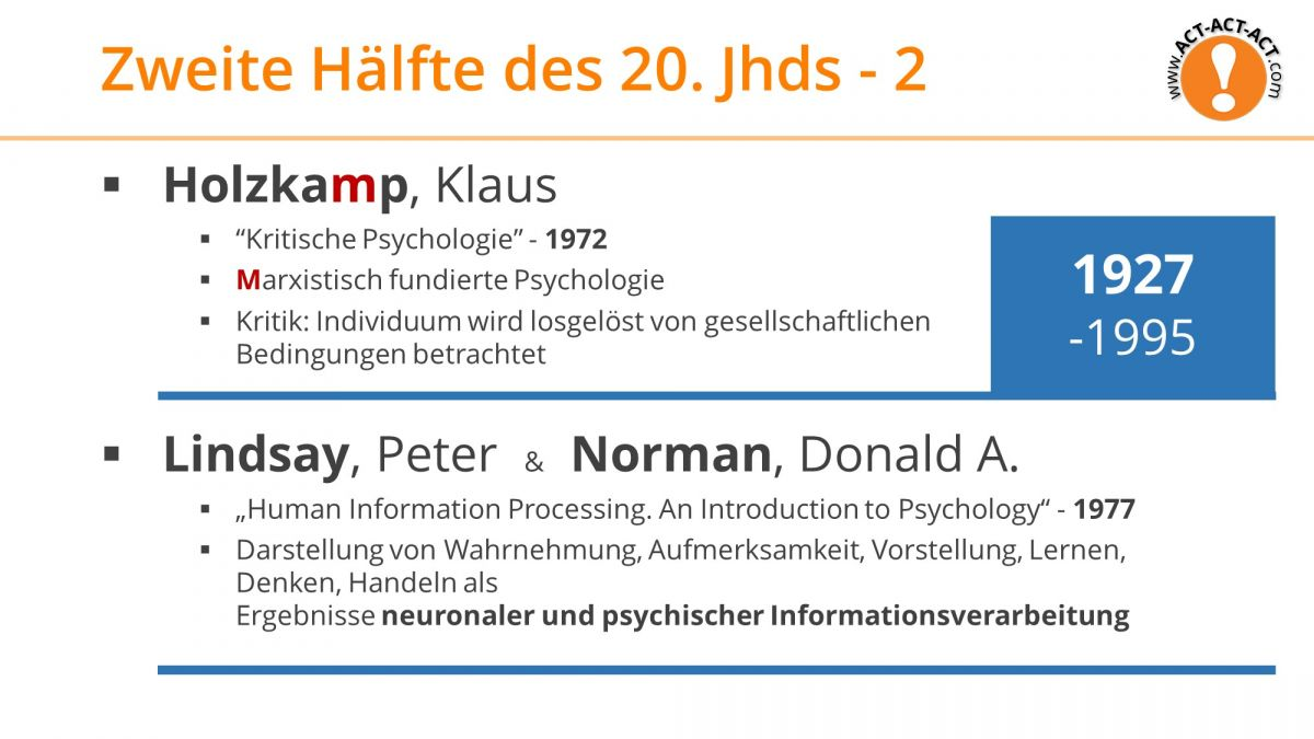 Psychologie Aufnahmetest Kapitel 1: Holzkamp, Lindsay, Norman