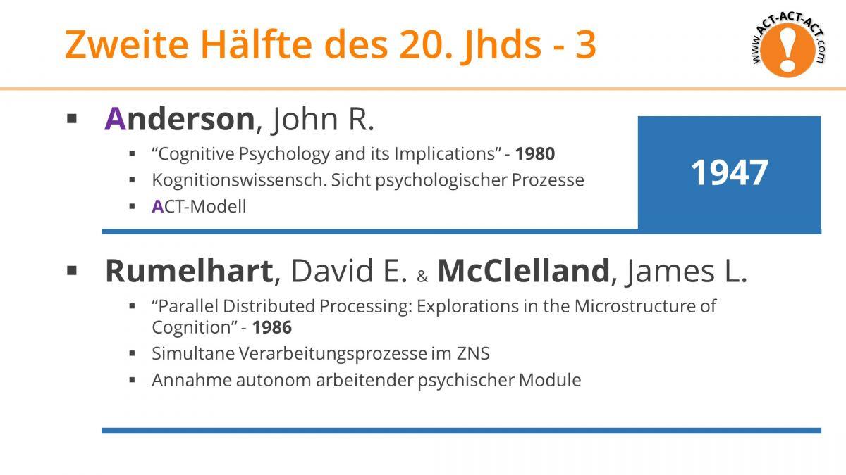 Psychologie Aufnahmetest Kapitel 1: Anderson, Rumelhart, McClelland