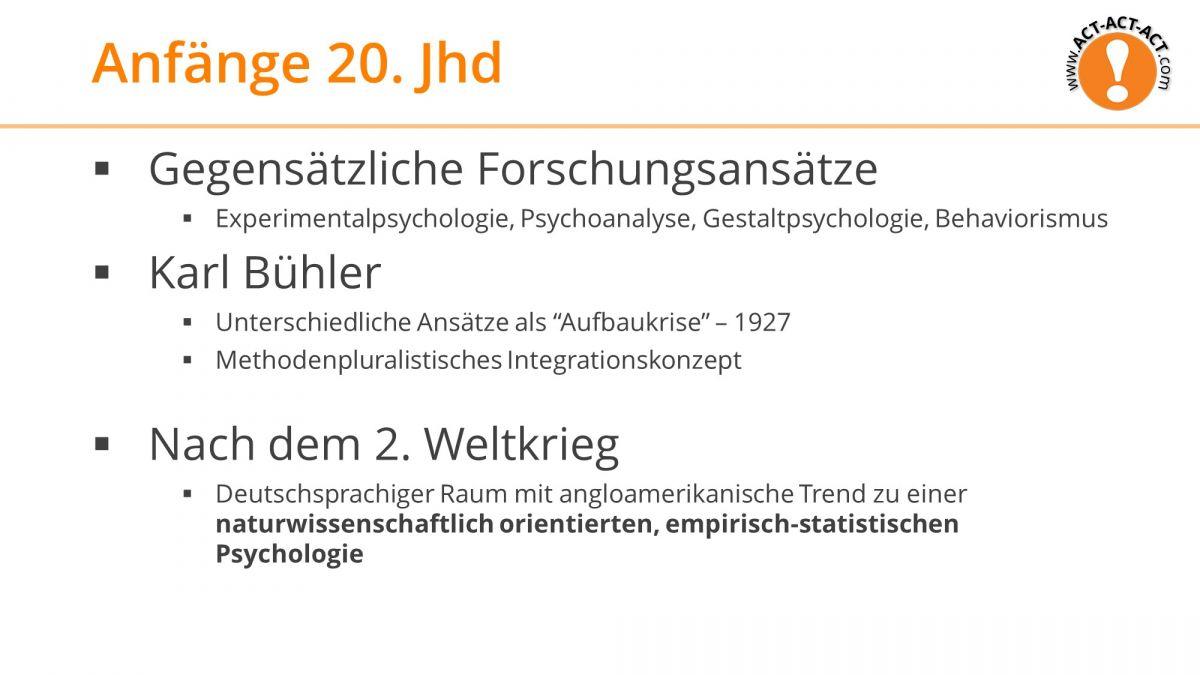 Psychologie Aufnahmetest Kapitel 1: Anfänge 20. Jahrhundert