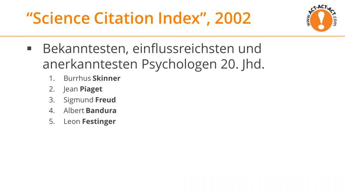 Psychologie Aufnahmetest Kapitel 1: Einflussreichsten Psychologen 20. Jhd.