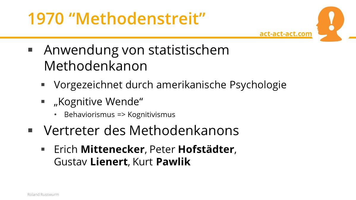 """1970 """"Methodenstreit"""""""