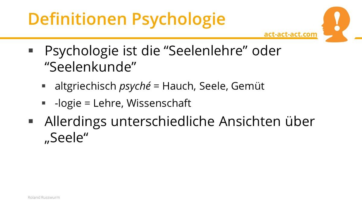 Definitionen Psychologie