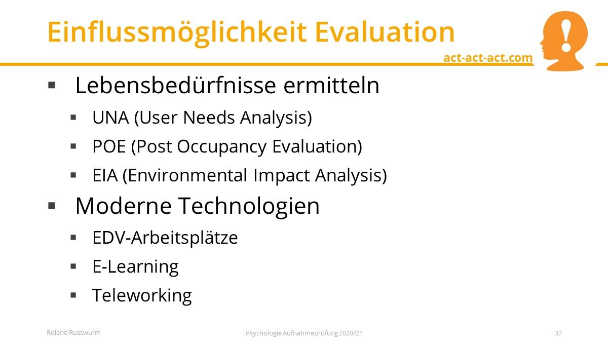 Einflussmöglichkeit Evaluation