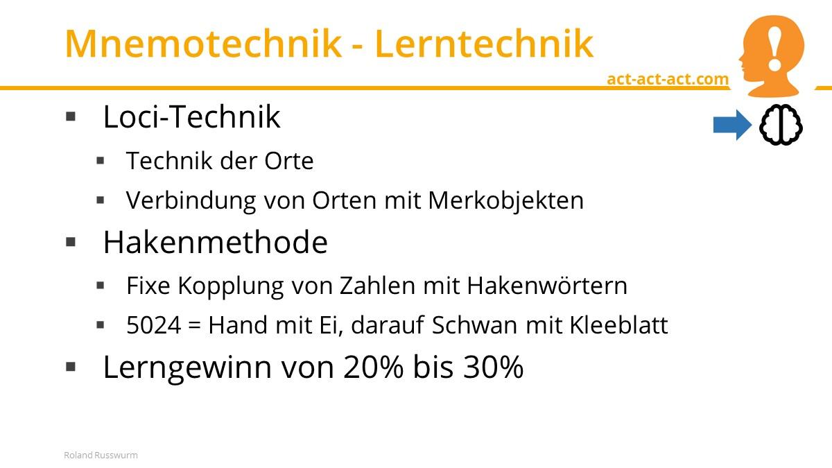 Mnemotechnik - Lerntechnik