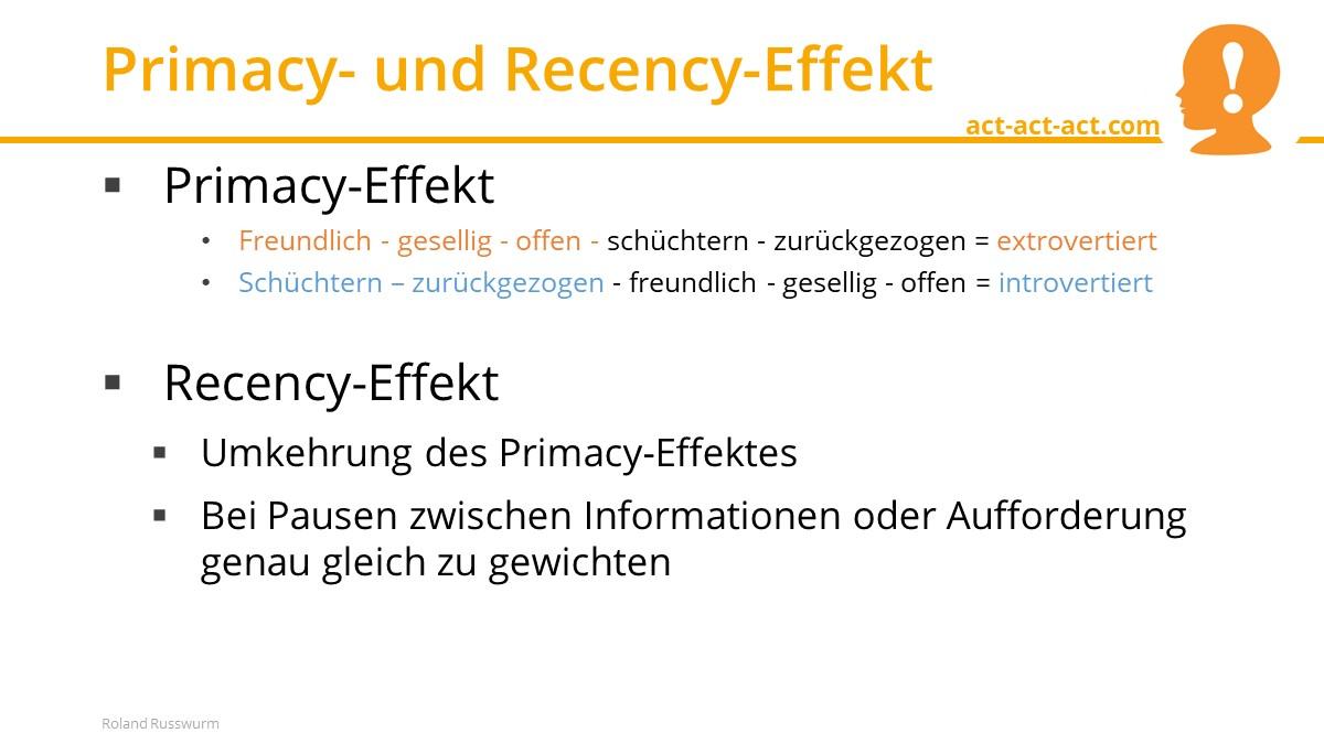 Primacy- und Recency-Effekt